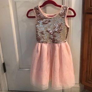 Girl's m 7/8 sequin & tulle flippable sequin dress